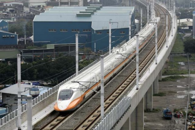 A high-speed bullet train in Taoyuan, Taiwan.