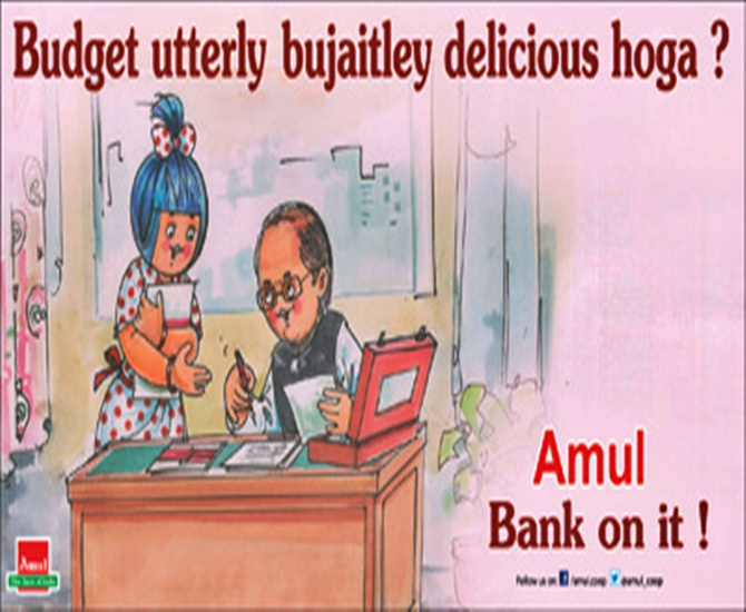 Amul ad on Finance Minister Arun Jaitley's first Budget on July 10