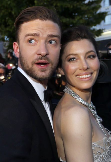 Actor and singer Justin Timberlake (L) and actress Jessica Biel.
