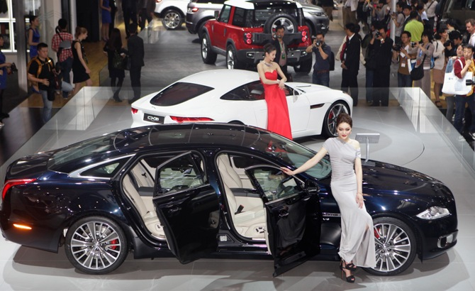 Jaguar Cars Are Displayed At Auto China.