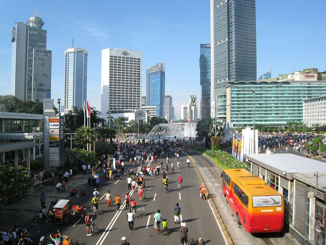 An aerial view of a popular street in Jakarta.