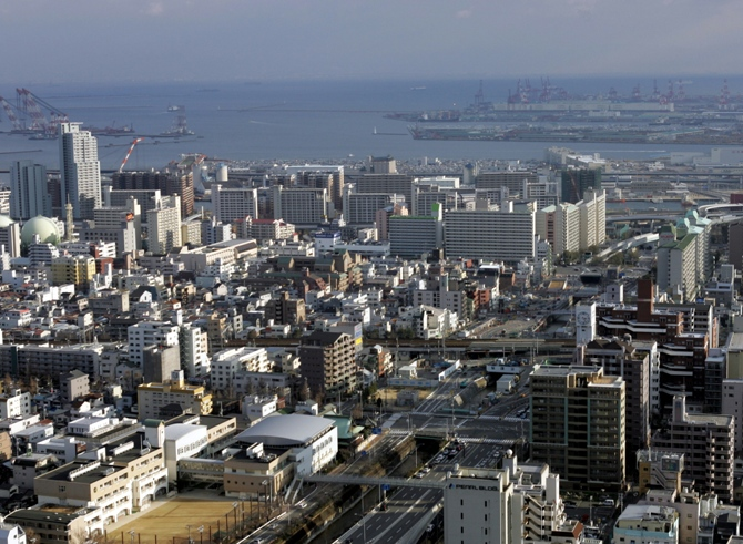 An aerial view of the western Japanese port city of Kobe.