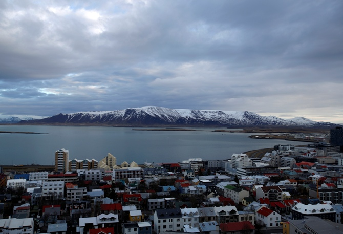 A general view shows the city of Reykjavik seen from Hallgrimskirkja church.