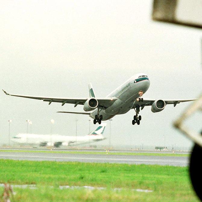 A Cathay Pacific aircraft.