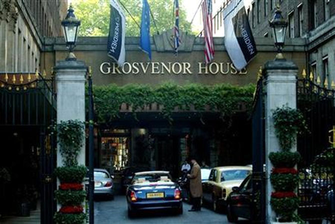 The entrance to the Grosvenor House Hotel in Park Lane in London.