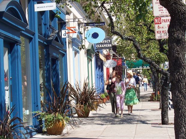 Boutiques along the famous Fillmore Street in Pacific Heights in San Francisco.