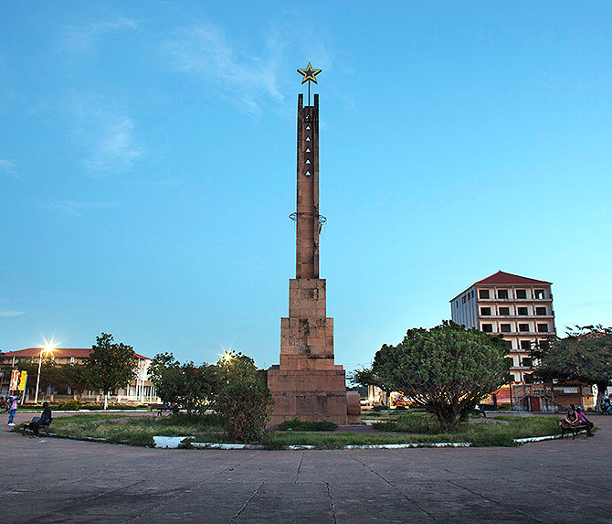 A monument to Guinea-Bissau's independence is seen at a plaza in the capital Bissau.