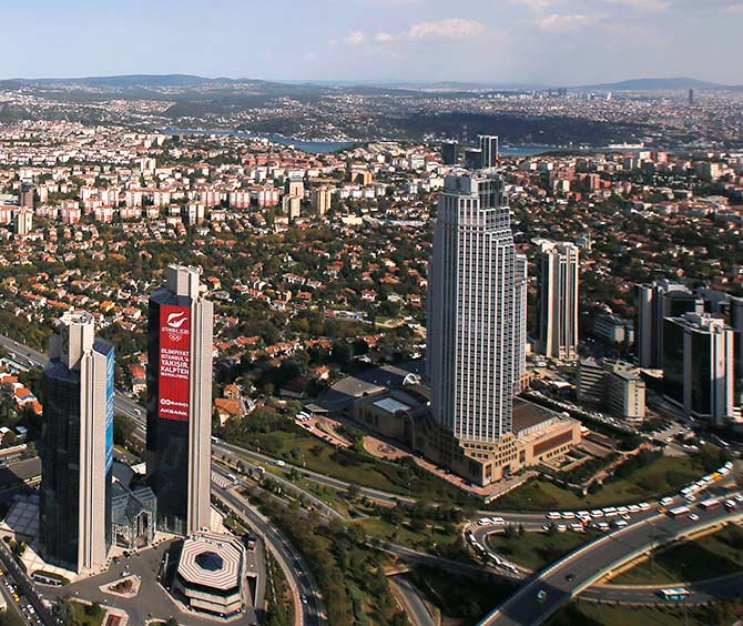 A view of Istanbul's financial Levent district from the Sapphire Tower in Istanbul.