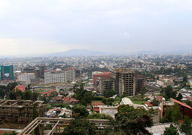 A general view shows a section of the skyline in Ethiopia's capital Addis Ababa.