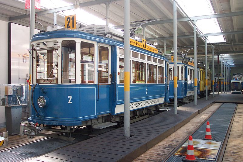 Tram car Ce2/2 2 on display within the Burgweis tram depot.