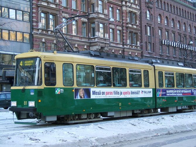 These articulated cars are the mainstay of the Helsinki tram fleet.