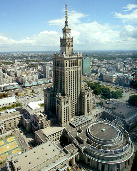 Ariel view of the neo-Gothic Palace of Culture.