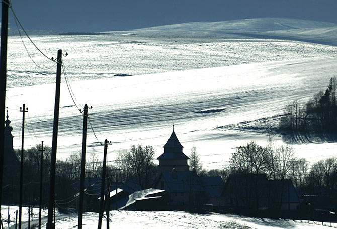 A view Strane pod Tatrami village from the Roma settlement below the Tatra mountains.