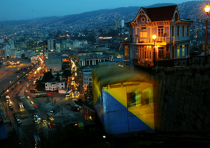 A nocturnal view of the 'Artilleria' funicular railway in the port city