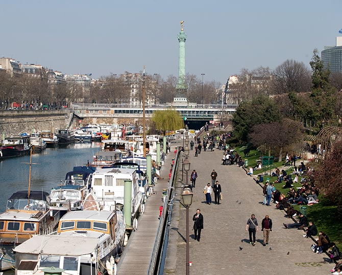 A view shows boats along the Port de l'Arsenal near the Place de la Bastille (Bastille Square) in Paris.
