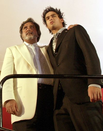 Vijay Mallya with his son.