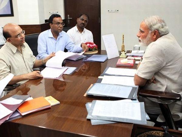 Narendra Modi with his core team.