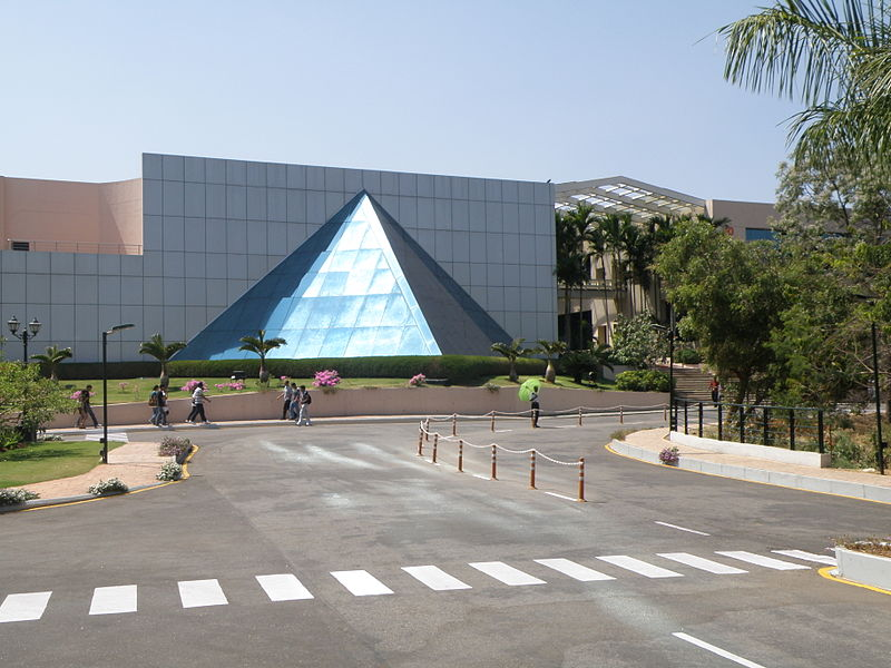 English: Sunlight reflecting off pyramid at Infosys Leadership Institute, Infosys, Mysore.