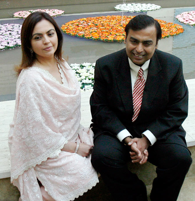 RIL Chairman Mukesh Ambani with his wife Nita.