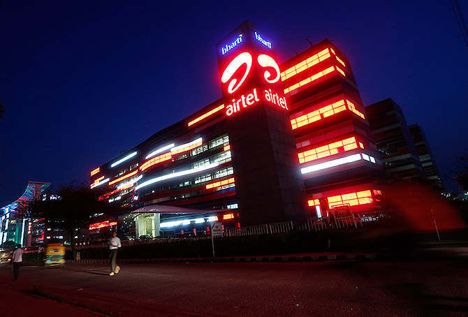 The Bharti Airtel office building is pictured in Gurgaon.
