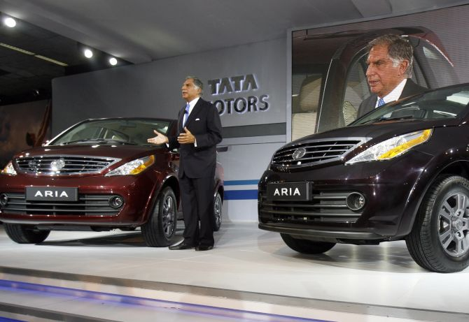 Ratan Tata speaks during the unveiling ceremony of Tata Motor's Aria at India's Auto Expo.