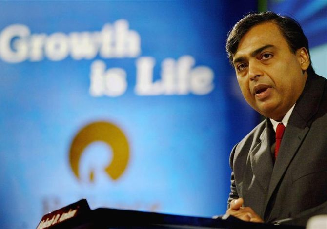 Reliance Industries Ltd Chairman Mukesh Ambani addresses shareholders during an annual general meeting in Mumbai.