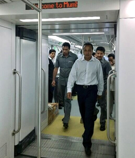 ADAG chairman Anil Ambani travels in the Mumbai Metro.