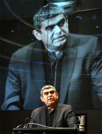 Infosys CEO Vishal Sikka at company headquarters in Bangalore.