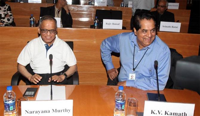 Narayana Murthy with K V Kamath.