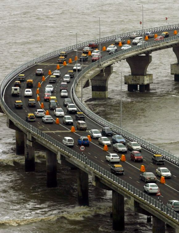 Traffic moves along the newly built Bandra-Worli sea link in Mumbai.