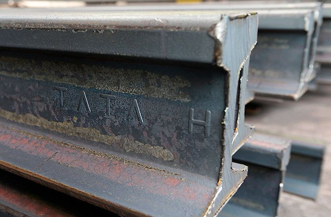 A rail is seen before finishing touches at the Tata Steel rails factory in Hayange, Eastern France.