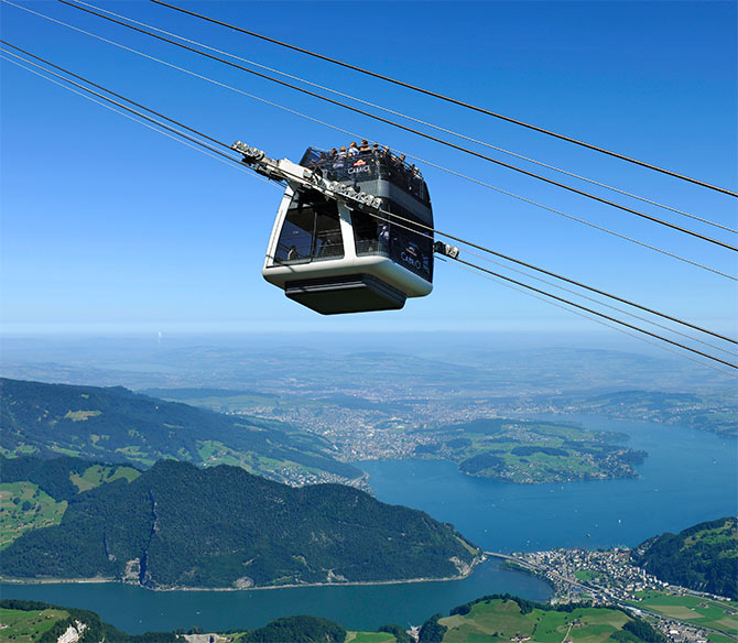 World's first cable car with an open-air upper deck