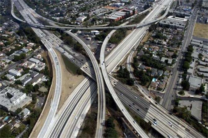 The 405 freeway in this aerial photo in Los Angeles, California.