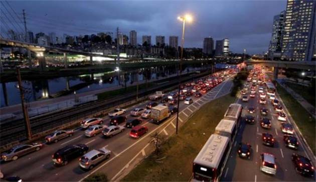 Vehicles are seen in a traffic jam during rush hour at Marginal Pinheiros in Sao Paulo.