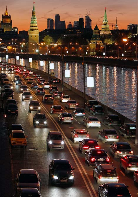Heavy traffic is seen on the streets of Moscow during the evening rush hour.