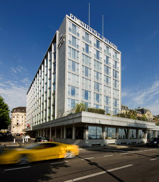 The President Wilson Hotel is pictured in Geneva.