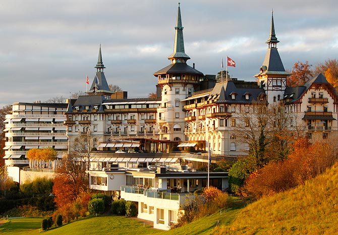 A general view shows the Dolder Grand Hotel in Zurich.