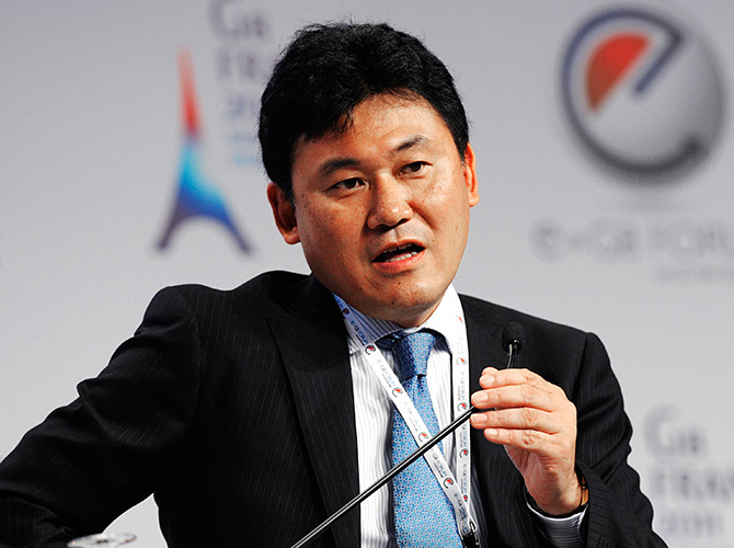 Rakuten CEO Hiroshi Mikitani attends the eG8 forum in Paris.