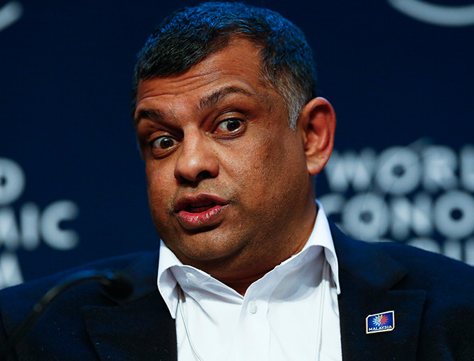 Anthony F. Fernandes, Group Chief Executive Officer of AirAsia, attends a session at the annual meeting of the World Economic Forum.