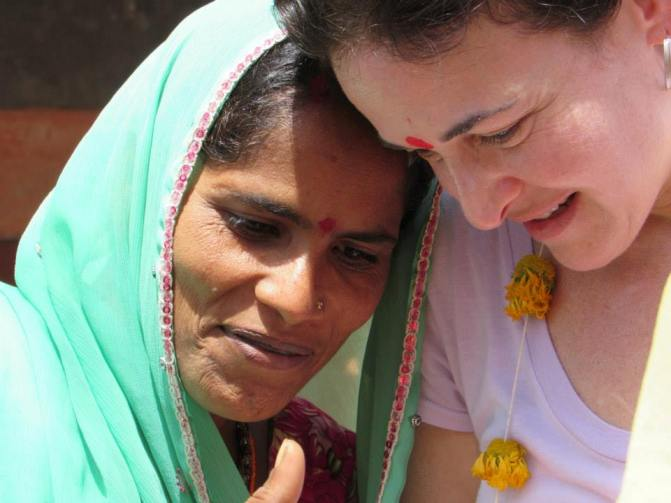 Facebook COO Sheryl Sandberg (right) at Kalthana Village, Rajasthan.