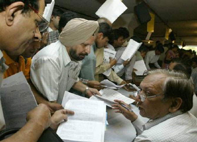 People filing tax returns.
