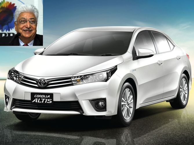 Toyota Corolla Altis. In the inset: Wipro's Azim Premji.