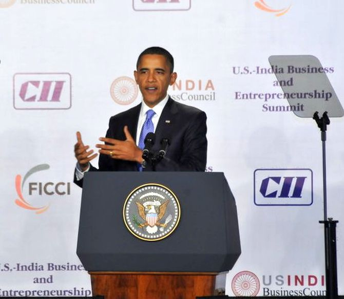 US President Barack Obama at a USIBC event.