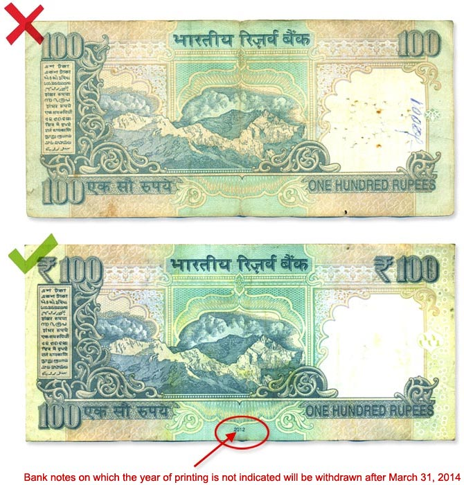Image shows pre-2005 and post-2005 notes, and how to identify them.