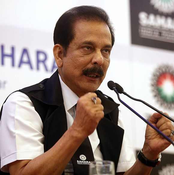 Sahara chief Subrata Roy at a press conference.