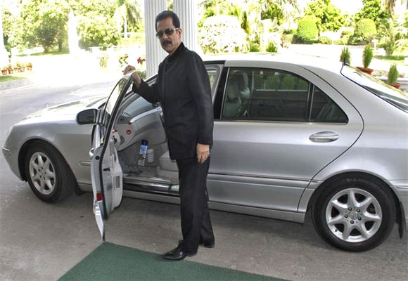 Sahara Group Chairman Subrata Roy poses for a photograph after an interview with Reuters outside his company's office.