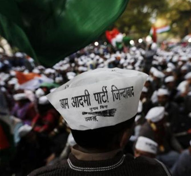 Supporters of Arvind Kejriwal, leader of the Aam Aadmi Party.