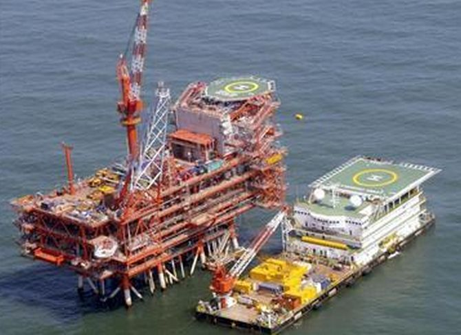 RIL's KG-D6's control and raiser platform is seen off the Bay of Bengal in this undated handout photo.