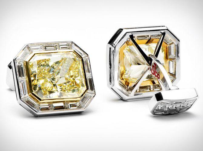Canary's diamond cufflinks.