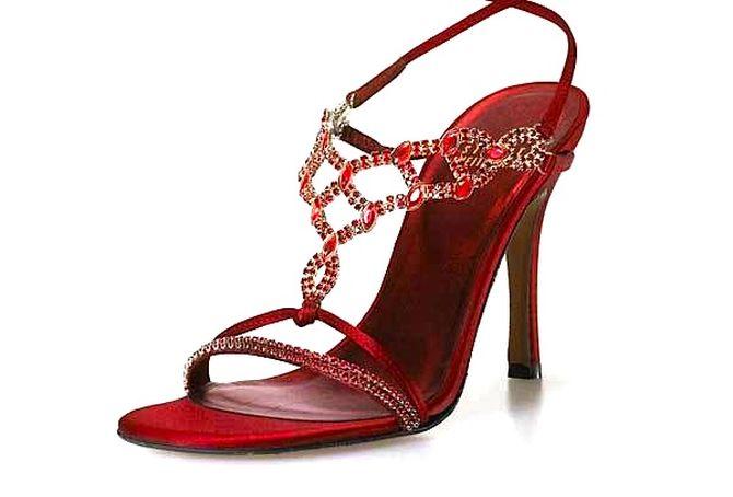 Stuart Weitzman ruby stilettos.